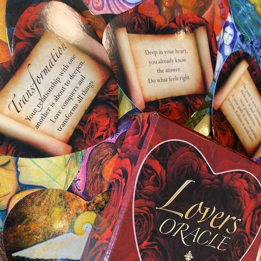 Lovers oracle. Heart-shaped fortune telling cards.